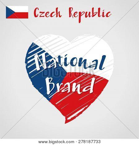 Vector Flag Heart Of Czech Republic, National Brand. Czech Republic Flag In Shape Of Heart, Pencil S