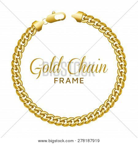 Gold Chain Round Border Frame. Wreath Circle Shape With A Lobster Lock. Realistic Vector Illustratio