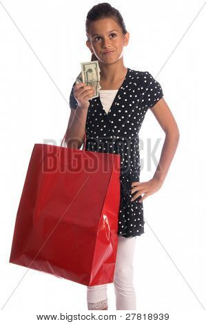 Twelve, 12 year old girl with a big red shopping bag and a handful of cold hard cash