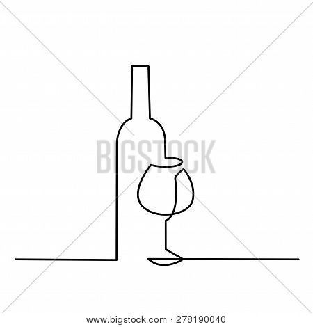 Wine Glass Outline Vector Icon. Continuous One Line Drawn A Bottle Of Wine And A Glass.