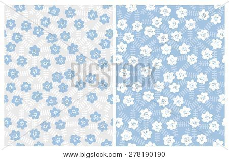 Hand Drawn Cute Floral Vector Patterns. Gray And Blue Backgrounds. Pastel Blue, Grey And White Color