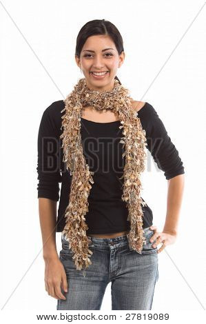 Beautiful young Mexican woman in a black shirt and a couture tan  multi-hued feather wool  scarf