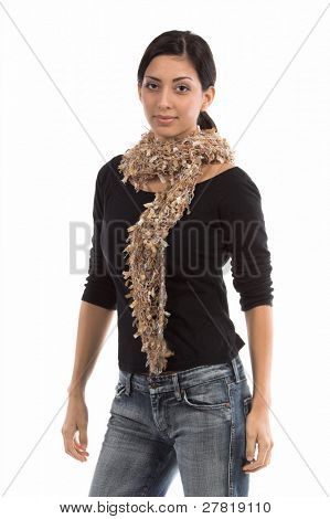Beautiful young Mexican woman in a black shirt and a couture tan  multi-hued feather wool  scarf standing square to the camera