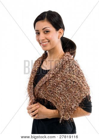 Beautiful young Mexican woman in a black shirt and a couture tan  multi-hued feather wool shawl accented by silver metallic threads
