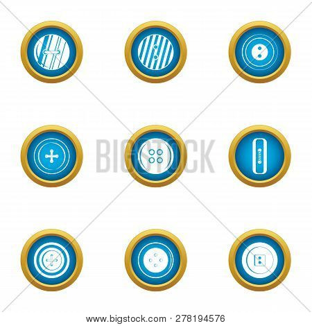 Push Button Icons Set. Flat Set Of 9 Push Button Icons For Web Isolated On White Background