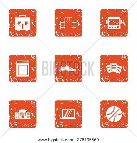 Director Icons Set. Grunge Set Of 9 Director Icons For Web Isolated On White Background