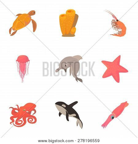 Peaceful Water Animal Icons Set. Cartoon Set Of 9 Peaceful Water Animal Icons For Web Isolated On Wh