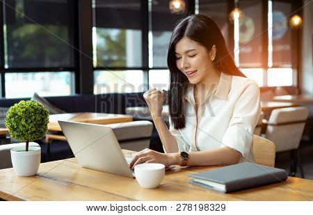 Freelancer Beautiful Asian Woman Success Business Project With Digital Laptop Computer Happy And Rel
