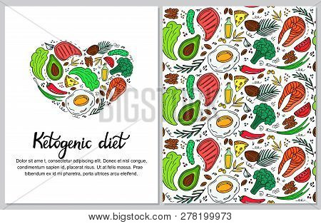Ketogenic Diet Vertical Banner In Hand Drawn Doodle Style. Low Carb Dieting. Paleo Nutrition. Keto M