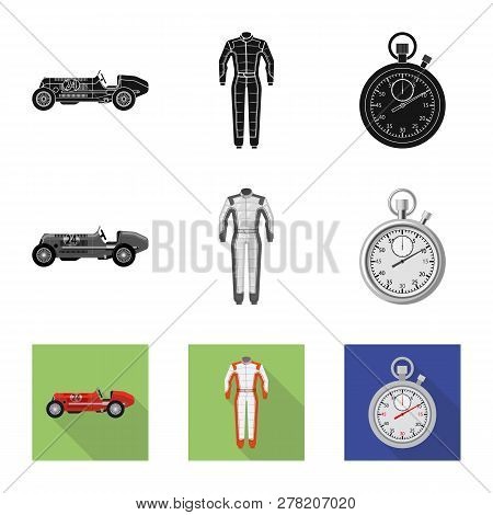Vector Design Of Car And Rally Icon. Collection Of Car And Race Stock Vector Illustration.
