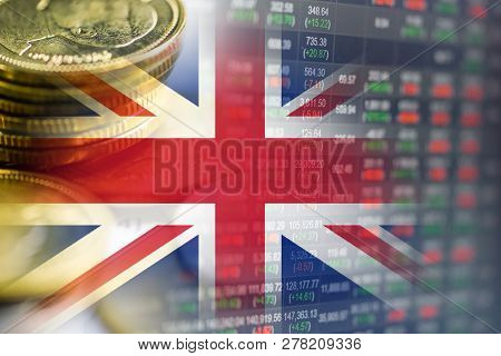 Stock Market Investment Trading Financial, Coin And England Flag Or Forex For Analyze Profit Finance