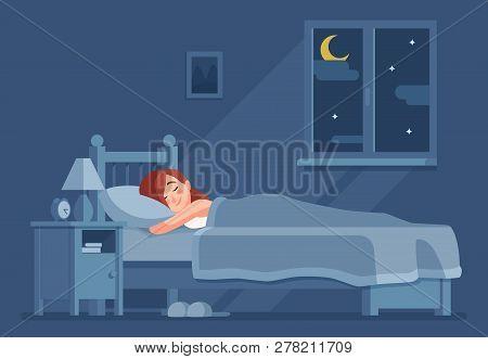 Lady Sleeping At Night. Woman Sleep In Bed Under Duvet Cartoon Vector Concept