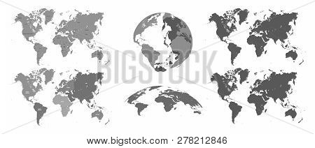World Gray Maps. Map Atlas, Earth Topography Mapping Silhouette Vector Isolated Illustration Set