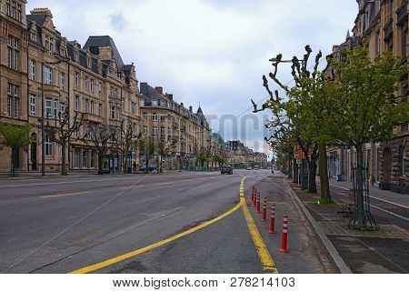 Luxembourg, Luxembourg-may 01, 2018: Cloudy Spring Morning. Downtown City, View To The Avenue De La
