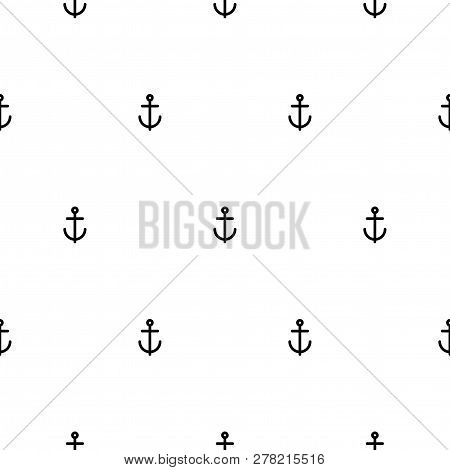 Nautical Seamless Pattern With Black Anchors On White. Ship And Boat Style Ornament.