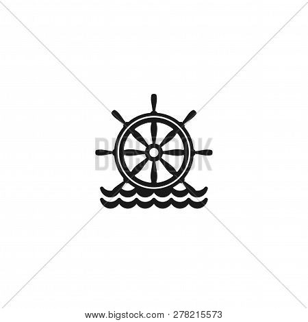 Flat Black Silhouette Of Helm On The Water. Black Symbol Isolated On White Background.