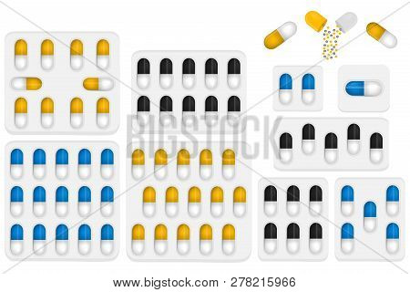Illustration On Theme Big Colored Set Different Types Of Pills Inside Close Blister. Pill Pattern Co