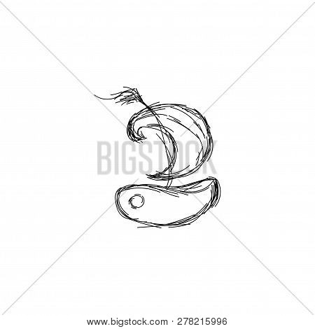 Black Pencil Line Drawing Of Boat Wih Sail. Logo Isolated On White Background.