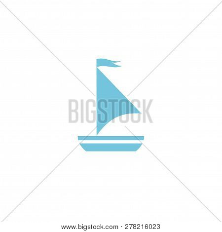 Simple Flat Boat With Sail. Marine Icon Isolated On White. Blue Color. Vector Nautical Illustration.