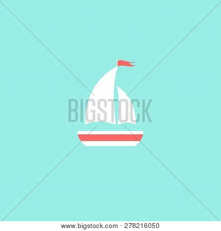 Flat White Boat With Two Sails And Little Waving Red Flag On The Top. Isolated On Powder Blue Backgr