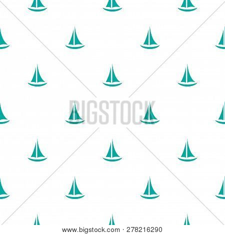 Seamless Pattern With Blue Yachts On White Background. Summertime Marine Print.