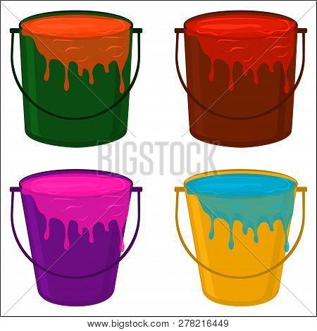 Illustration On Theme Big Colored Set Different Types Plastic Buckets, Various Size Pails Paint. Buc