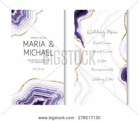 Amethyst Crystal Geode Purple Vertical Vector Card.stylish Ultraviolet Texture Frame.gold Border.spa