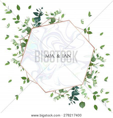 Herbal Minimalistic Vector Frame. Hand Painted Plants, Branches, Leaves On White Background. Greener