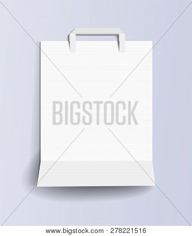 Paper Shopping Bag Template. White Empty Paper Shopping Bag On A Light Lilac Background. Paper Shopp