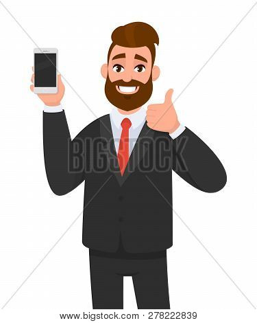 Cheerful Businessman Holding/showing Brand New Smartphone/mobile/cell Phone In Hand And Gesturing Th