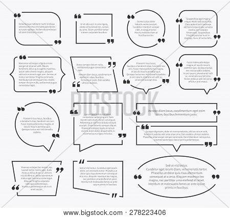 Quote boxes. Quotation sentence box design, idea paragraph marks comment sentencing mention description bubbles with commas vector set poster