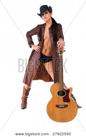 Country singer in leather duster with acoustic guitar