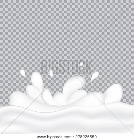 Realistic Milk Splash And Pouring. Vector Illustration Of Realistic Natural Dairy Products. Liquid C
