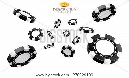 Black 3d Casino Chips Or Flying Realistic Tokens For Gambling, Entertainment House Volumetric Blank