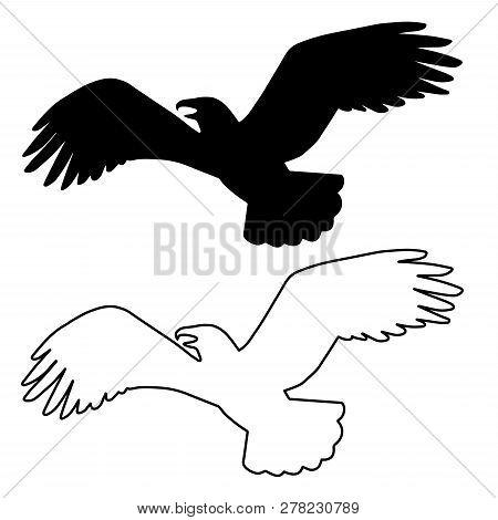 Stock Vector Bird Eagle Black Icon Logo, Isolated Design Element