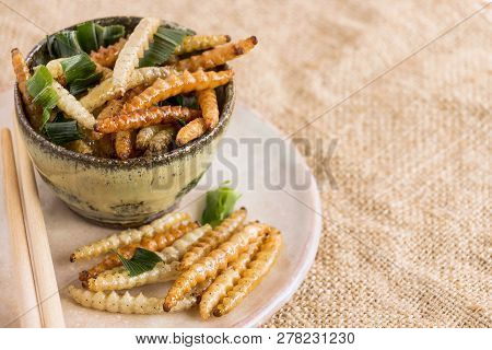 Food Insects: Bamboo Worm (bamboo Caterpillar) Insect Fried Crispy For Eating As Food Items On Plate