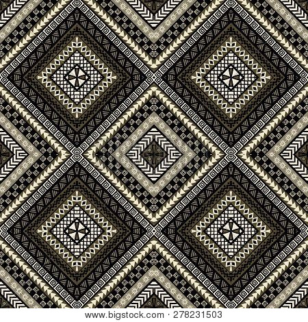 Ethnic Rhomboid Seamless Pattern In African Style With Tribal Motifs