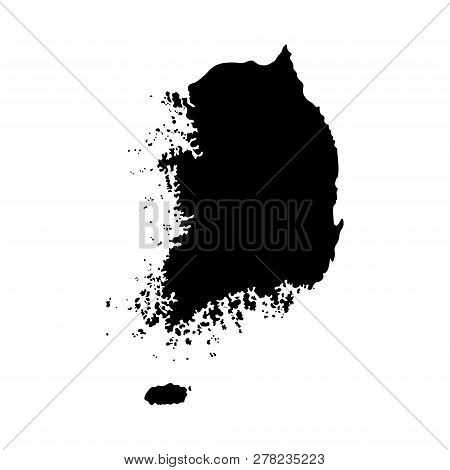 Vector Isolated Simplified Illustration Icon With Black Silhouette Mainland Of South Korea. White Ba