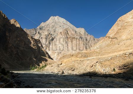 Evening Sunset View Of Panj River And Pamir Mountains, Panj Is High Part Of Amu Darya River, Gorno-b