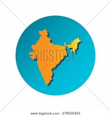 Vector Isolated Simplified Illustration Icon With Orange Silhouette Of Mainland India. Blue Backgrou
