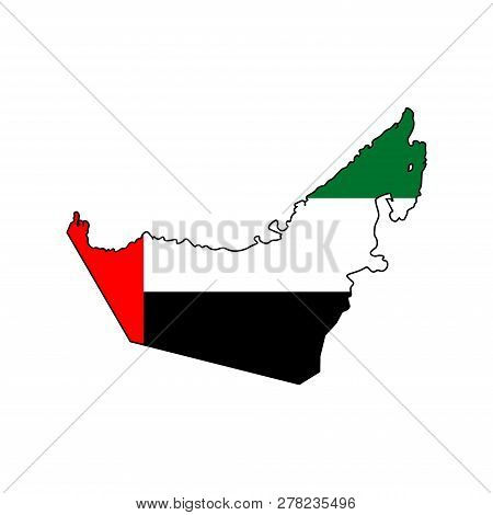 Vector Isolated Simplified Illustration Icon With Silhouette Of Mainland United Arab Emirates In Fla