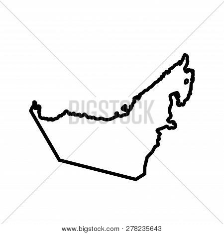 Vector Isolated Simplified Illustration Icon With Black Line Silhouette Of Mainland United Arab Emir