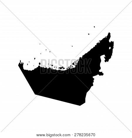 Vector Isolated Simplified Illustration Icon With Black Silhouette Mainland And Islands Of United Ar