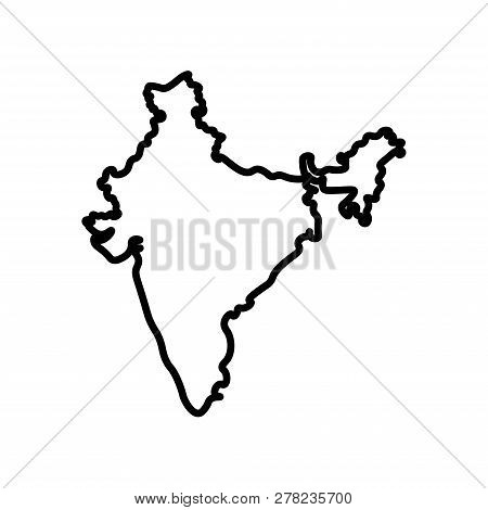 Vector Isolated Simplified Illustration Icon With Black Line Silhouette Of Mainland India. White Bac