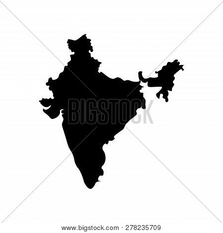 Vector Isolated Simplified Illustration Icon With Black Silhouette Mainland Of India. White Backgrou