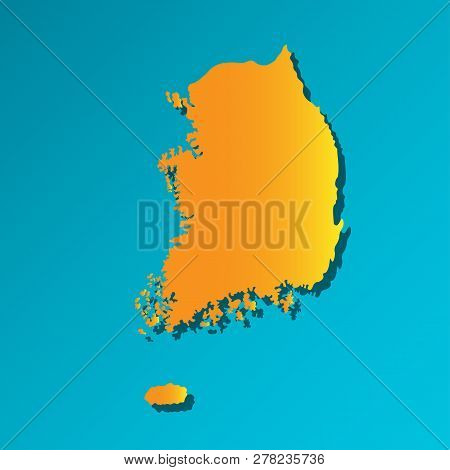 Vector Isolated Simplified Illustration Icon With Orange Silhouette Of Mainland South Korea. Blue Ba