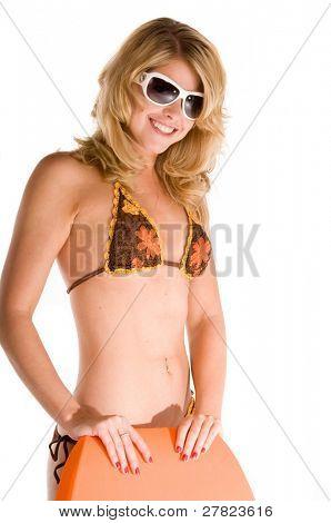 Young blond woman in a crotchet bikini