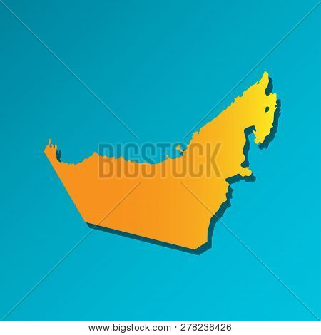 Vector Isolated Simplified Illustration Icon With Orange Silhouette Of Mainland United Arab Emirates