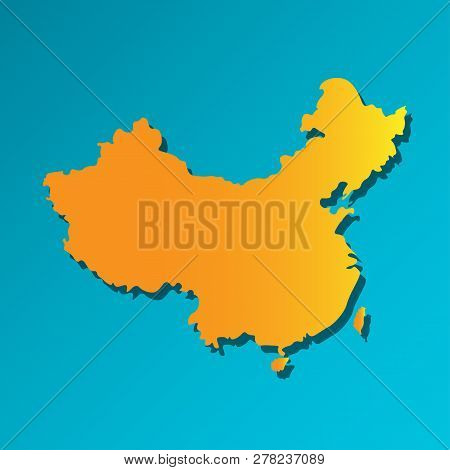 Vector Isolated Simplified Illustration Icon With Orange Silhouette Of Mainland China. Blue Backgrou