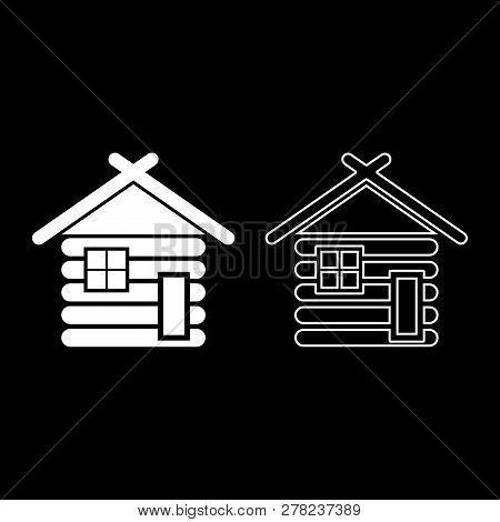 Wooden House Barn With Wood Modular Log Cabins Wood Cabin Modular Homes Icon Set White Color Illustr